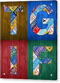 Tgif Thank Goodness Its Friday Recycled Vintage License Plate Art Letter Sign Acrylic Print by Design Turnpike