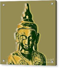 Acrylic Print featuring the digital art Thai Buddha #4 Pop Art Warhol Style Print.  by Jean luc Comperat