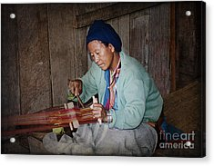 Acrylic Print featuring the photograph Thai Weaving Tradition by Heiko Koehrer-Wagner