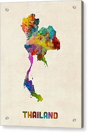 Thailand Watercolor Map Acrylic Print by Michael Tompsett