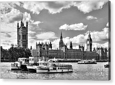 Thames River In London Bw Acrylic Print by Mel Steinhauer