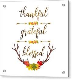 Acrylic Print featuring the digital art Thankful Grateful Blessed Fall Leaves Antlers by Georgeta Blanaru