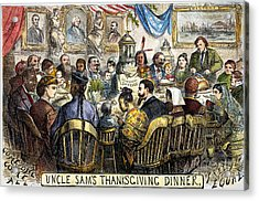 Thanksgiving Cartoon, 1869 Acrylic Print by Granger