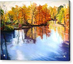 Thanksgiving Day II     Reflections On Blue Acrylic Print by Lucinda  Hansen