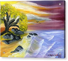 That Yellow Tree By The Sea Acrylic Print by Maria Williams