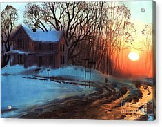 Acrylic Print featuring the painting Thaw by Sergey Zhiboedov