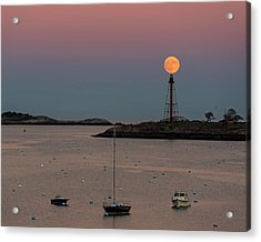 The 2016 Supermoon Balancing On The Marblehead Light Tower In Marblehead Ma Acrylic Print