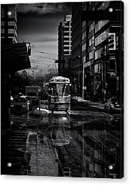 Acrylic Print featuring the photograph The 512 St. Clair Streetcar Toronto Canada Reflection by Brian Carson