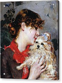 The Actress Rejane And Her Dog Acrylic Print