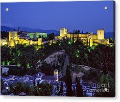 The Alhambra And Sierra Nevada At Blue Hour Acrylic Print by Guido Montanes Castillo