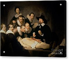 The Anatomy Lesson Of Doctor Nicolaes Tulp Acrylic Print by Rembrandt Harmenszoon van Rijn