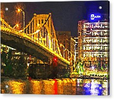 Acrylic Print featuring the digital art The Andy Warhol Bridge 1 by Digital Photographic Arts