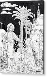 The Apparition Of The Lord To Mary Of Magdalen Lithography Acrylic Print