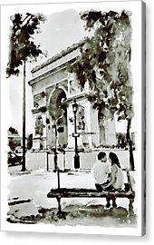 The Arc De Triomphe Paris Black And White Acrylic Print by Marian Voicu
