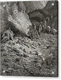 The Army Of The Second Crusade Find The Remains Of The Soldiers Of The First Crusade Acrylic Print by Gustave Dore