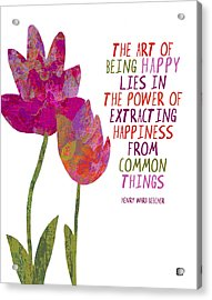 Acrylic Print featuring the painting The Art Of Being Happy by Lisa Weedn