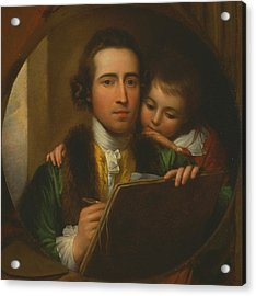 The Artist And His Son Raphael Acrylic Print by Benjamin West