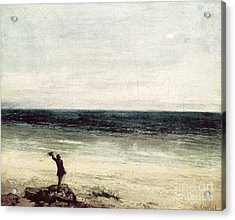 The Artist On The Seashore At Palavas Acrylic Print by Gustave Courbet