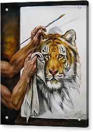 The Artists Hands Acrylic Print by Martin Katon