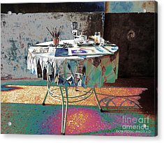 The Artists Table Acrylic Print by Don Pedro De Gracia