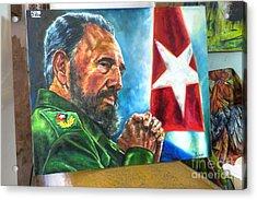 The Arts In Cuba Fidel Castro 2 Acrylic Print by Wayne Moran