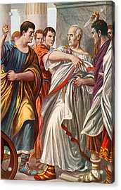 The Assassination Of Julius Caesar Acrylic Print by Tancredi Scarpelli
