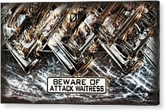 The Attack Waitress  Acrylic Print by Joan  Minchak