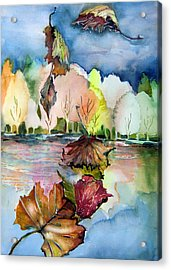 The Autumn Leaves Drift By My Window Acrylic Print by Mindy Newman