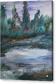 The Backwaters Pond Acrylic Print by Edward Wolverton