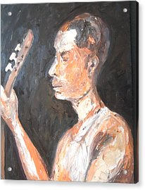 Acrylic Print featuring the painting The Baglama Player by Esther Newman-Cohen