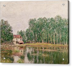 The Banks Of The Canal At Moret Sur Loing Acrylic Print by Alfred Sisley