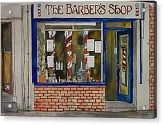The Barber Shop Acrylic Print by Victoria Heryet