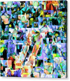 The Basketball Jump Shot In Abstract Cubism 20170328 Square Acrylic Print