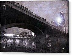 The Bat Bridge Night Austin Texas Acrylic Print by Betsy Knapp
