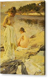 The Bathers Acrylic Print by Anders Leonard Zorn