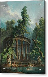 Acrylic Print featuring the painting The Bathing Pool by Hubert Robert