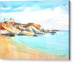 The Baths Virgin Gorda Beach Boulders Acrylic Print