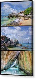 The Baths Virgin Gorda National Park Triptych Acrylic Print