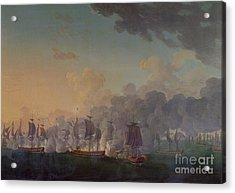 The Battle Of Louisbourg On The 21st July 1781 Acrylic Print by Auguste Rossel De Cercy