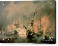 The Battle Of Navarino Acrylic Print by Ivan Konstantinovich Aivazovsky