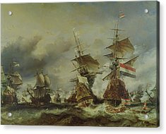 The Battle Of Texel Acrylic Print by Louis Eugene Gabriel Isabey