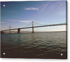 Acrylic Print featuring the mixed media The Bay Bridge- By Linda Woods by Linda Woods