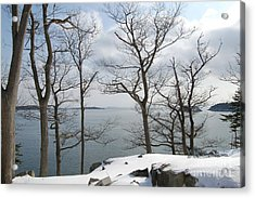 The Bay In Winter Acrylic Print by Faith Harron Boudreau