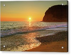 the beach and the Mediterranean sea in Montenegro in the summer at sunset Acrylic Print