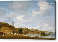The Beach At Egmond An Zee Acrylic Print by Salomon van Ruysdael