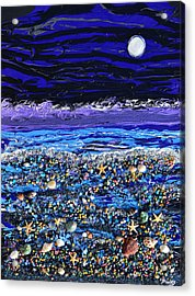 The Beach By Moonlight Acrylic Print by Donna Blackhall