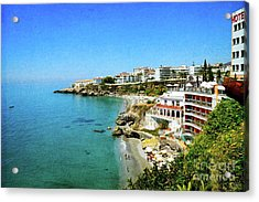 Acrylic Print featuring the photograph The Beach - Nerja Spain by Mary Machare