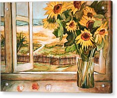 Acrylic Print featuring the painting The Beach Sunflowers by Winsome Gunning