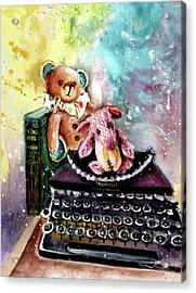 The Bear And The Sheep And The Typewriter From Whitby Acrylic Print by Miki De Goodaboom