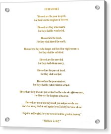 Acrylic Print featuring the digital art The Beatitudes Gospel Of Matthew by Rose Santuci-Sofranko